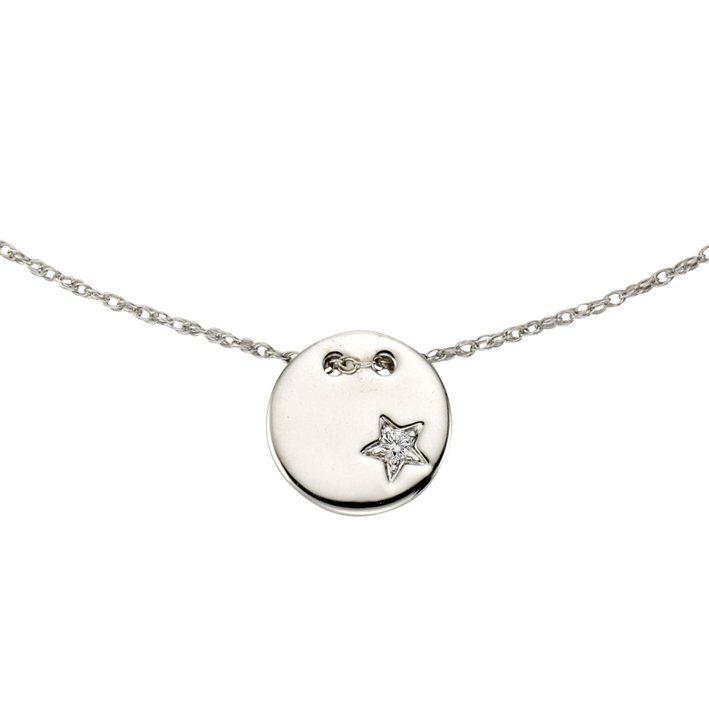 CELESTA Collier »925/- Silber 1x Diamant« in Silbergrau