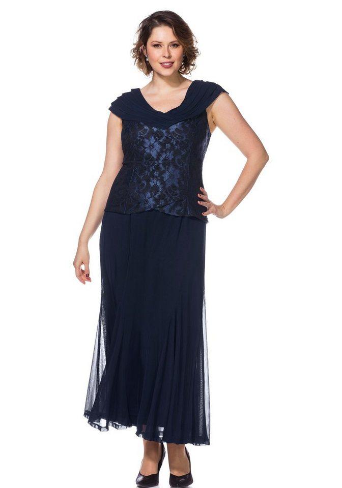 Festtagsmode - Sheego Abendkleid mit Spitze und Schalkragen › blau  - Onlineshop OTTO