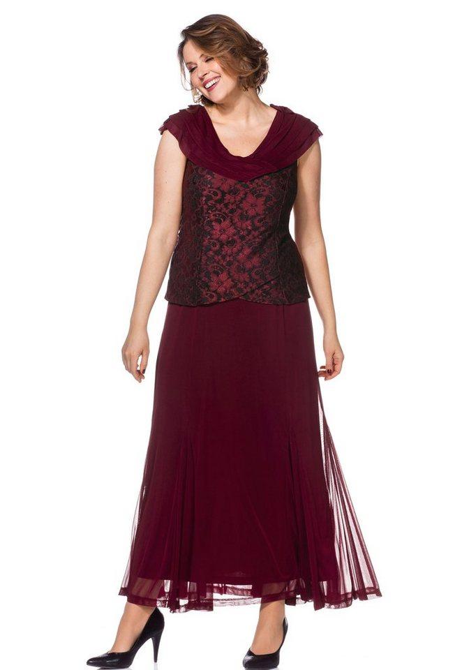Festtagsmode - Sheego Abendkleid mit Spitze und Schalkragen › rot  - Onlineshop OTTO