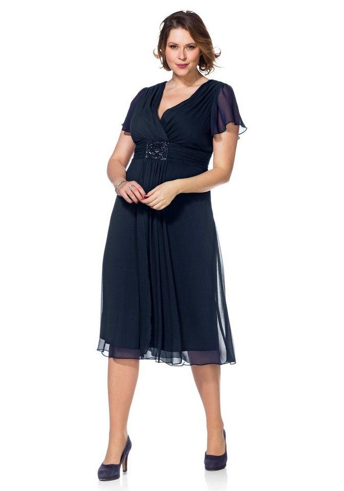 Festtagsmode - Sheego Abendkleid mit Alloverdruck › blau  - Onlineshop OTTO