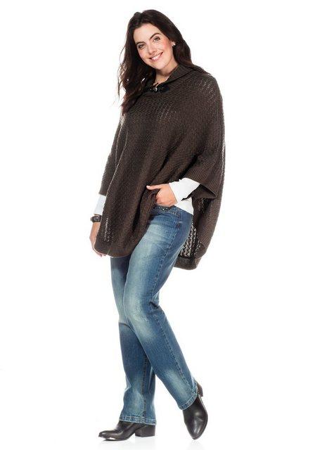 Sheego Strickponcho Kragen mit Knebelknopf | Bekleidung > Pullover > Ponchos & Capes | Sheego