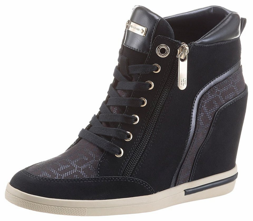 tommy hilfiger sneaker im materialmix mit keilabsatz online kaufen otto. Black Bedroom Furniture Sets. Home Design Ideas