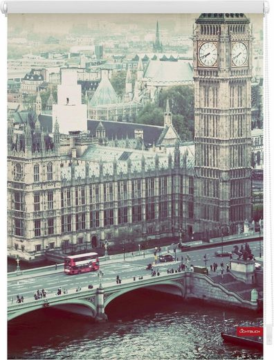 Seitenzugrollo »Klemmfix Motiv London Westminster«, LICHTBLICK, Lichtschutz, ohne Bohren, freihängend, bedruckt