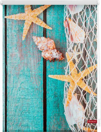 Seitenzugrollo »Klemmfix Motiv Bretter Beach«, LICHTBLICK, Lichtschutz, ohne Bohren, freihängend, bedruckt
