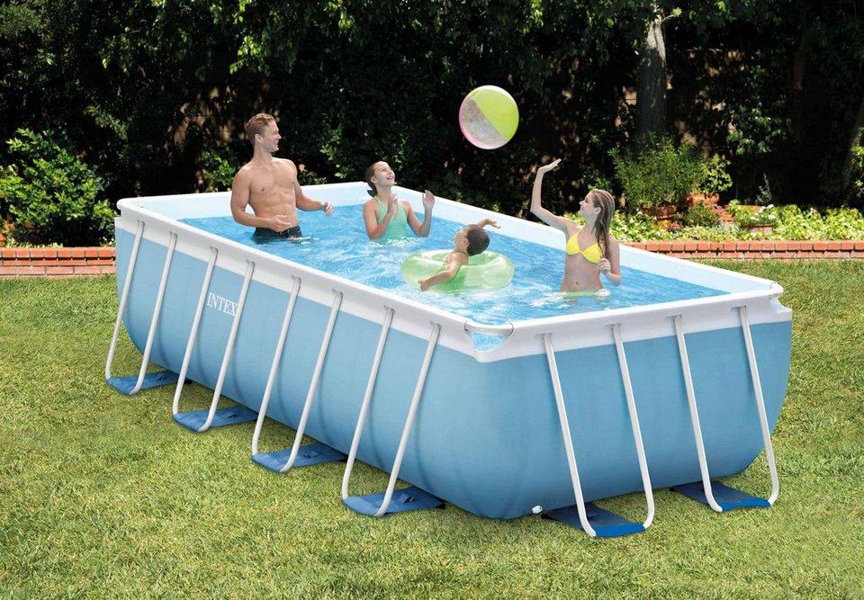Intex pool set prism frame rectangular pool komplettset for Pool komplettset