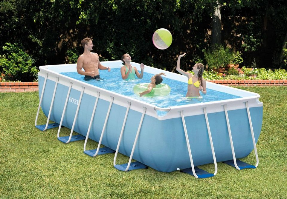 Intex pool set prism frame rectangular pool komplettset for Pool baumarkt