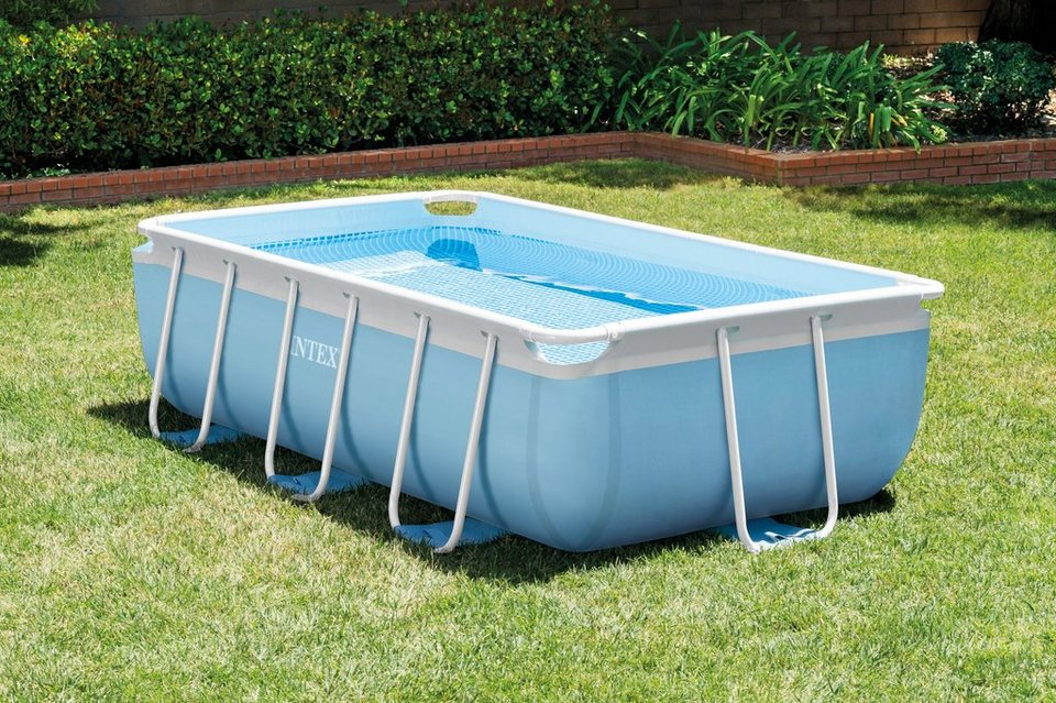 Intex pool set prism frame rectangular pool set 3tlg for Pool aufblasbar rechteckig