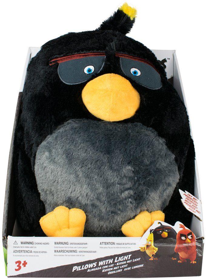 Stofftier mit Licht- und Soundfunktion ca. 35 cm, »Angry Birds™ Bomb Pillow Light« schwarz