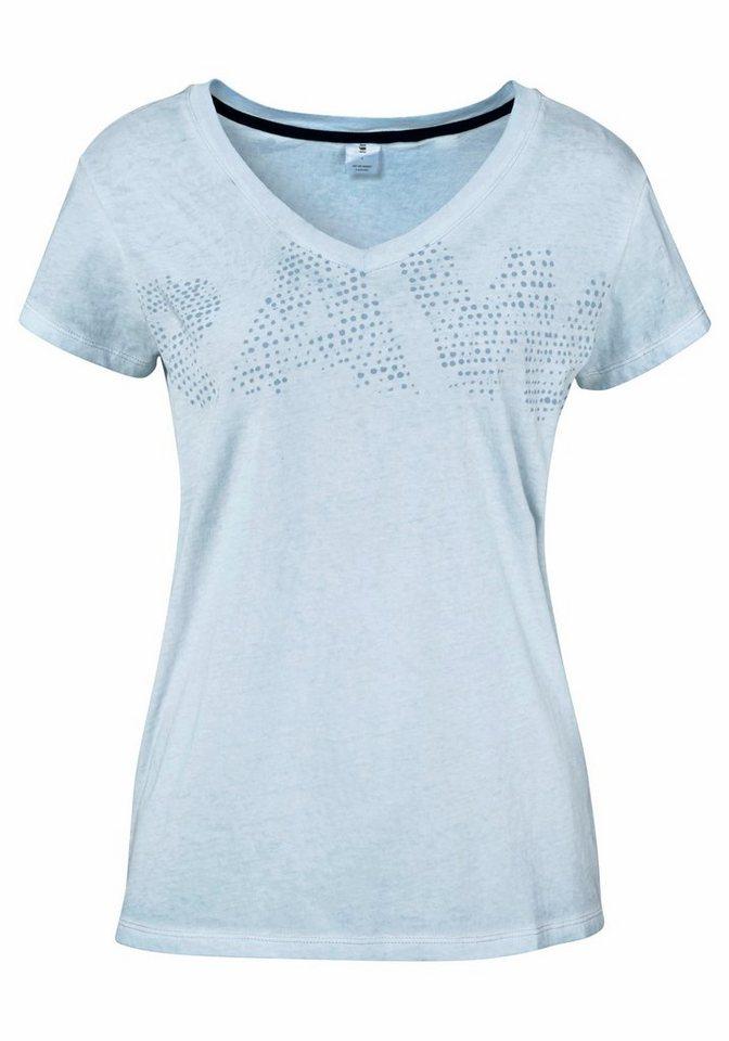 G-Star V-Shirt »FOTIS« im overdyed Look in hellblau