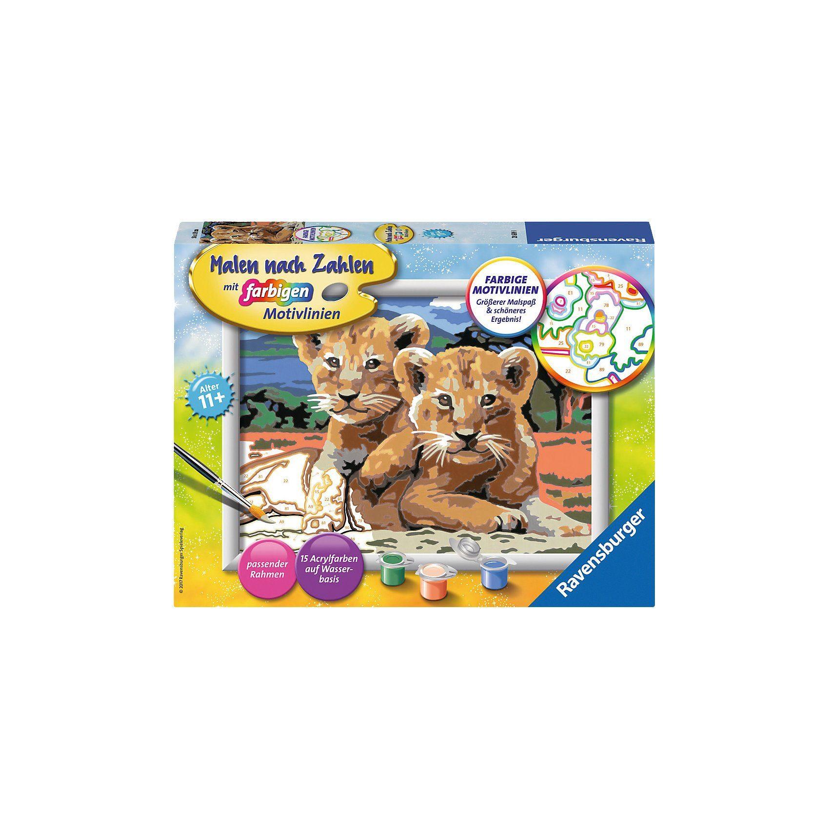 Ravensburger Malen nach Zahlen Kleine Löwenbabys Serie D