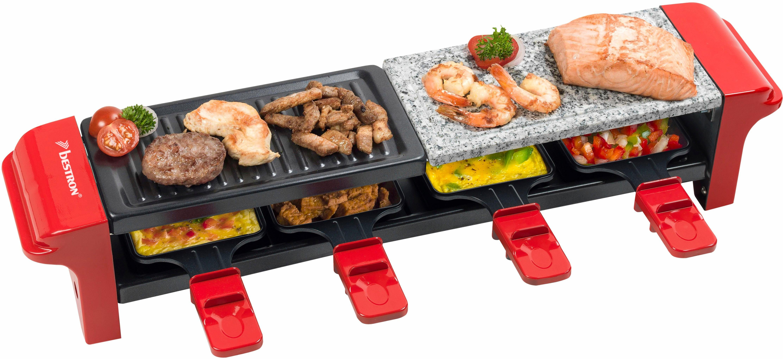 bestron Raclette ARG400, 4 Raclettepfännchen, 800 W