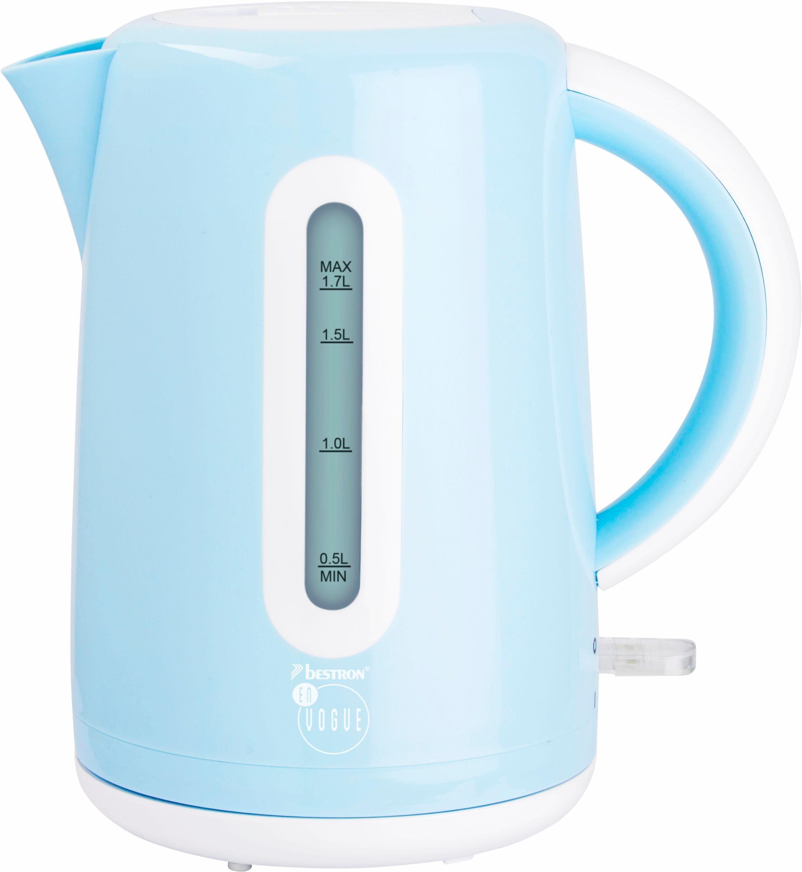 Bestron Wasserkocher AWK300EVB, 1,7 Liter, 1850-2200 Watt, blau