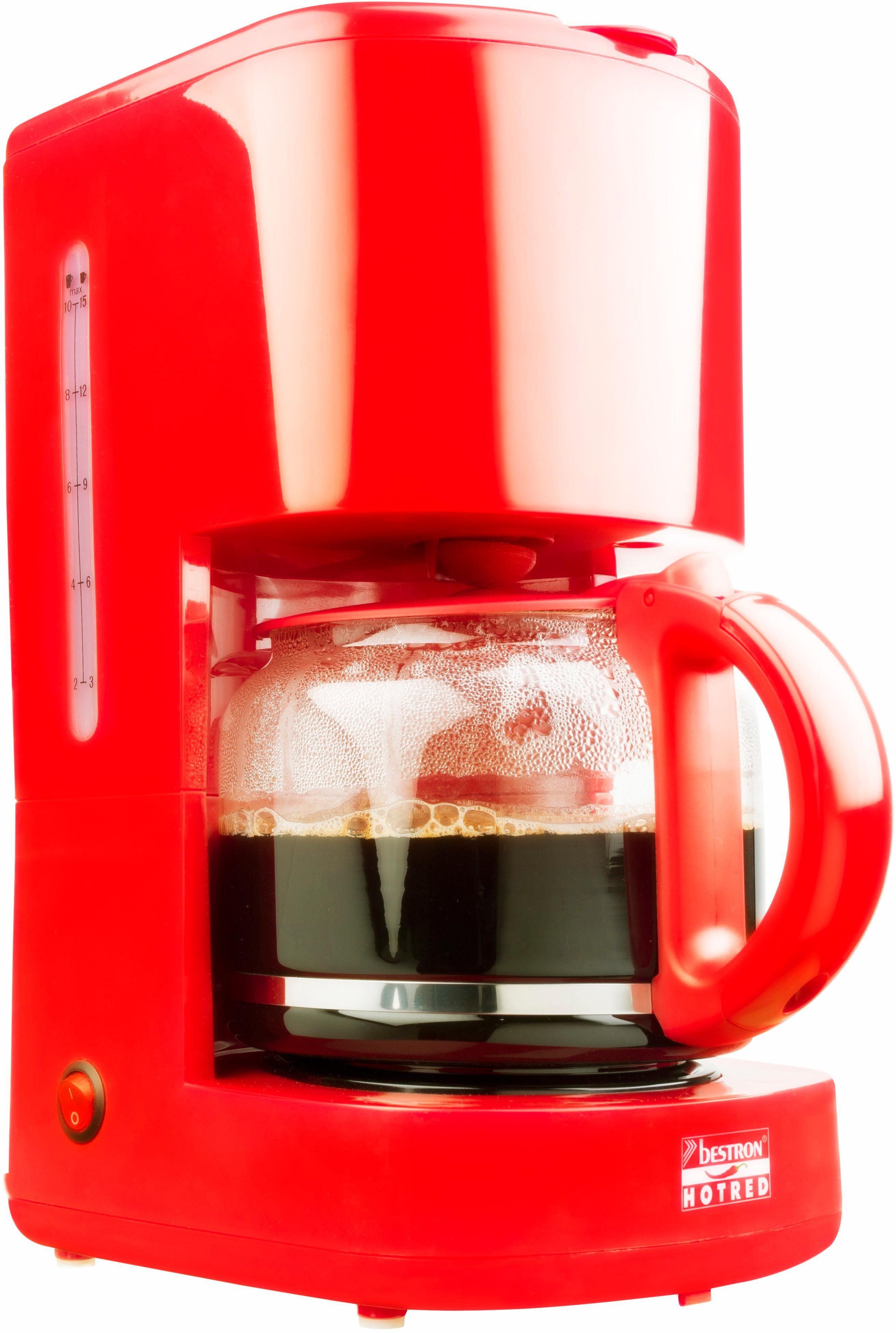 Bestron Kaffeemaschine ACM300HR, 920 Watt, rot