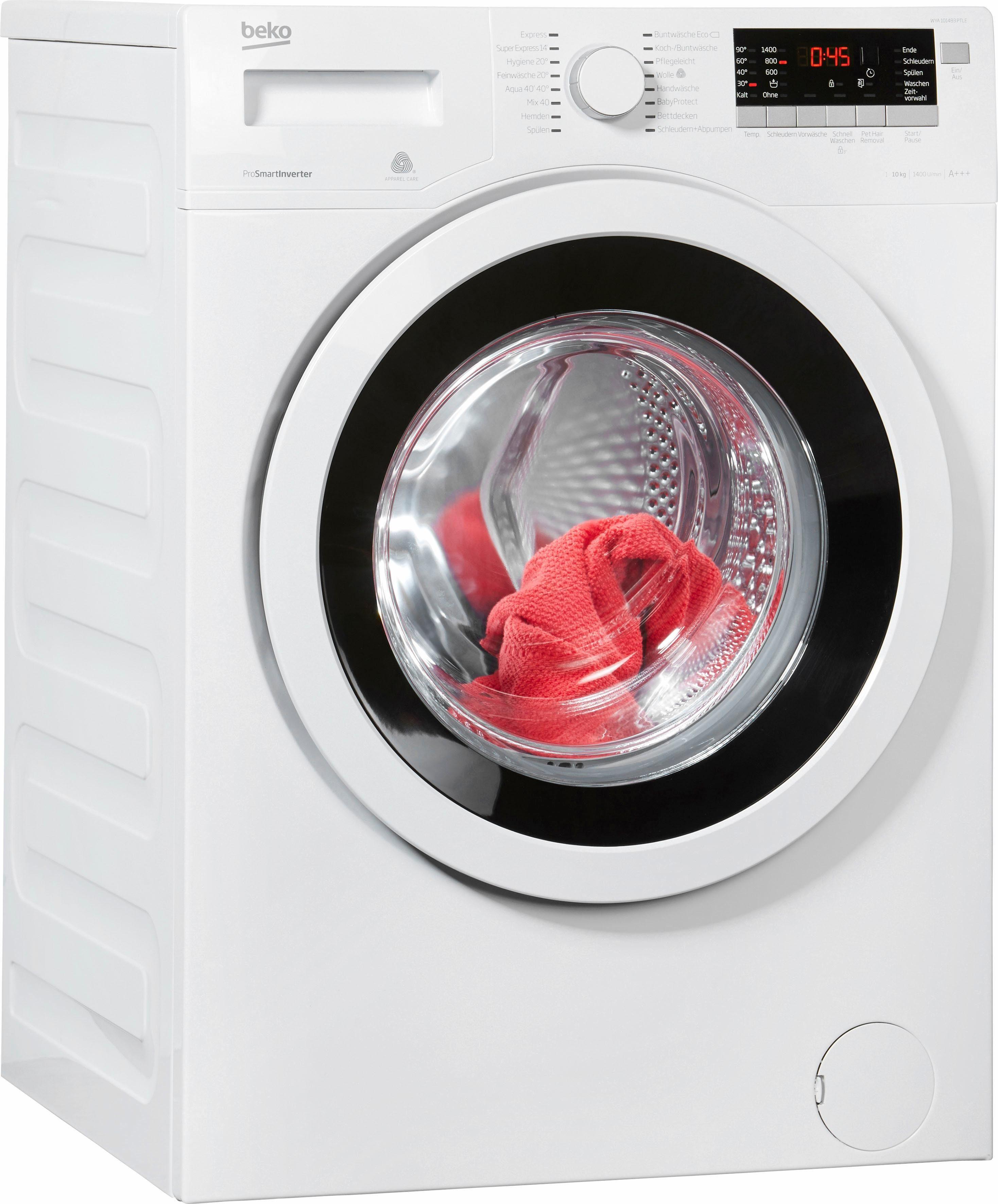 BEKO Waschmaschine WYA 101483 PTLE, 10 kg, 1400 U/Min