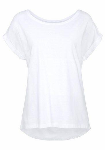 AJC Rundhalsshirt, mit längerem Rückenteil