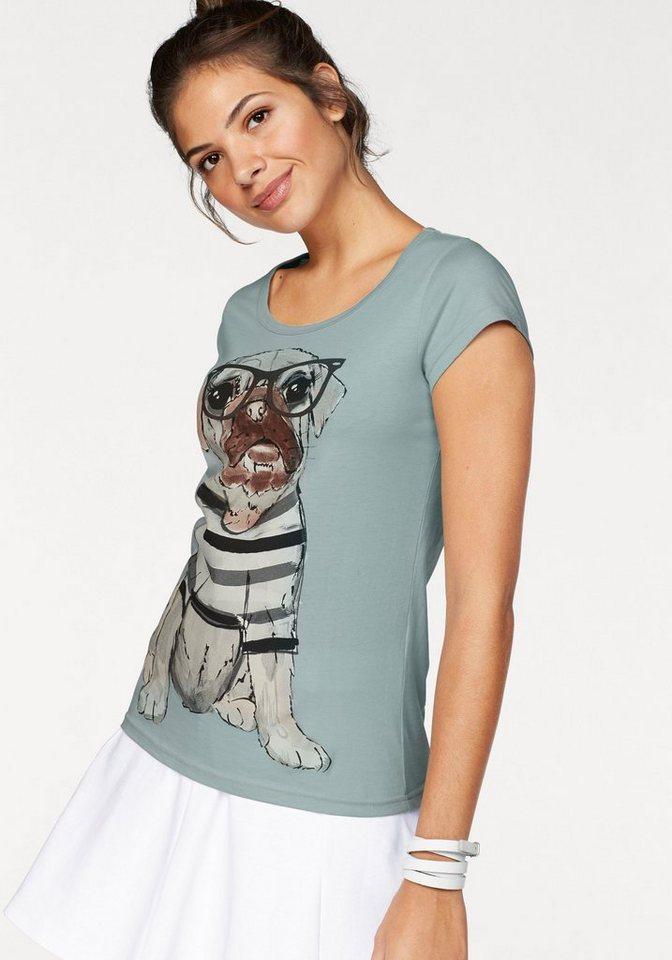 AJC T-Shirt mit witzigem Hunde Druck in mint