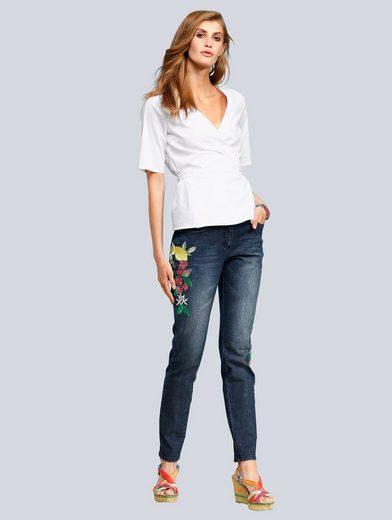 Alba Moda Skinny-Jeans mit Stickereien mit Zitronenmotiv