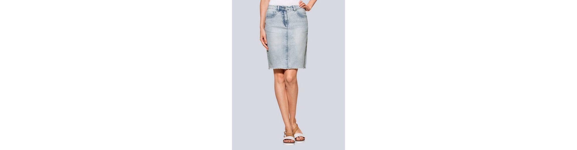 Alba Moda Jeansrock mit Fransensaum in trendiger Waschung Outlet-Store Günstig Online N1OXJv
