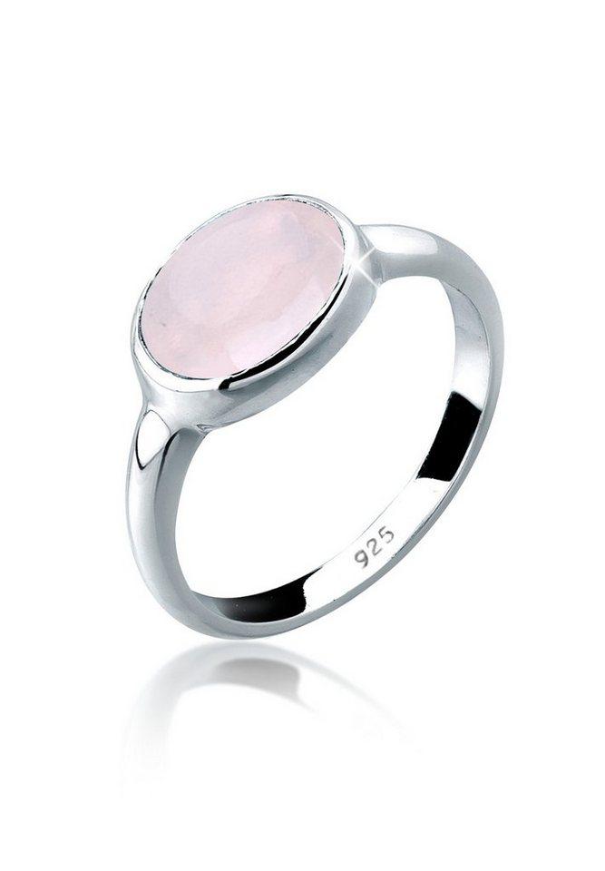 Elli Ring »Rosenquarz Solitär 925 Silber« in Rosa