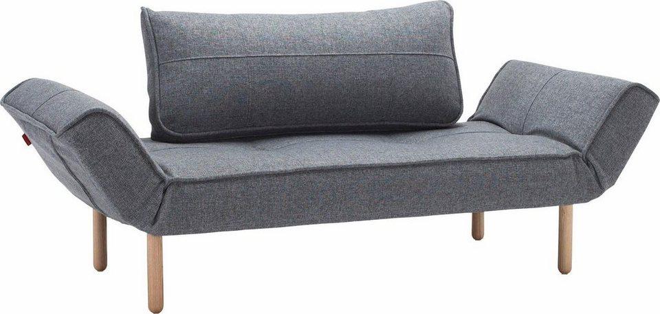 INNOVATION™ Schlafsofa »Zeal« im Scandinavian Design, Stem Beine, inklusive Rückenkissen in denim grey