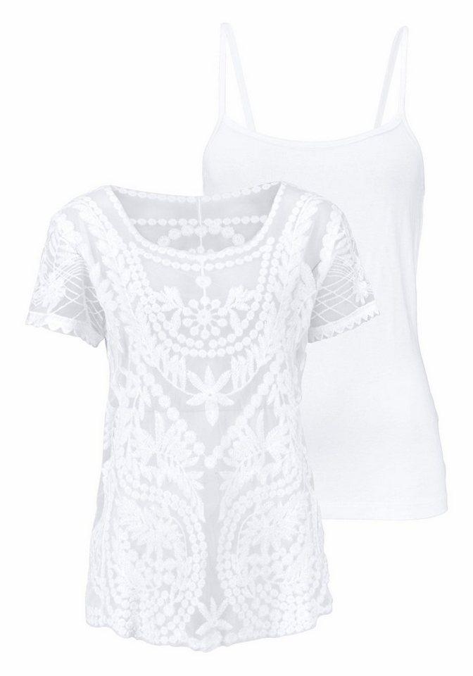 Laura Scott Spitzenshirt (Set, mit Top) in weiß