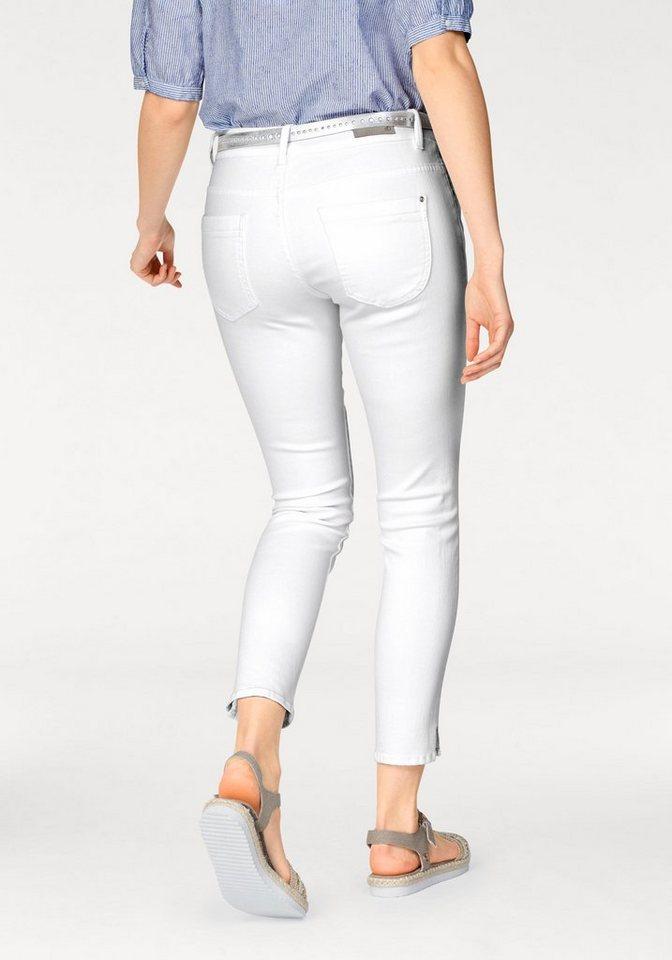 s.Oliver RED LABEL Ankle-Jeans mit kleinen Seitenschlitzen in white-denim