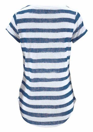 Key Largo T-Shirt JOSI, mit Fake-Brusttasche mit Zier-Perlen