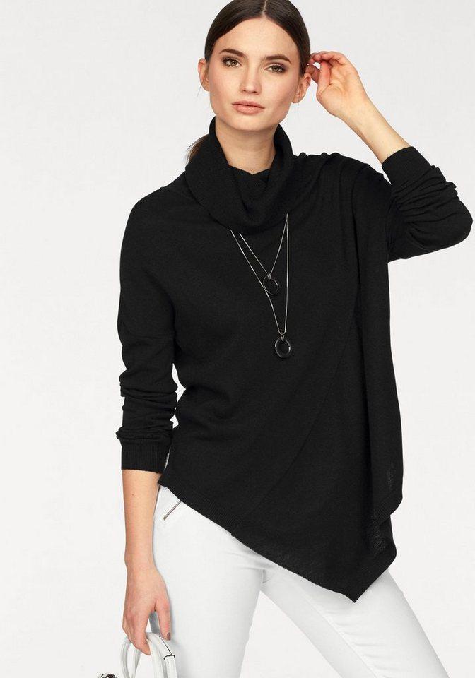 Laura Scott Rollkragenpullover mit asymmetrischem Saum in schwarz