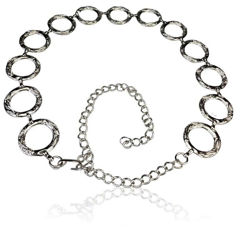FRONHOFER Kettengürtel »18712« silberner Kettengürtel mit großen Ringen, 110 cm
