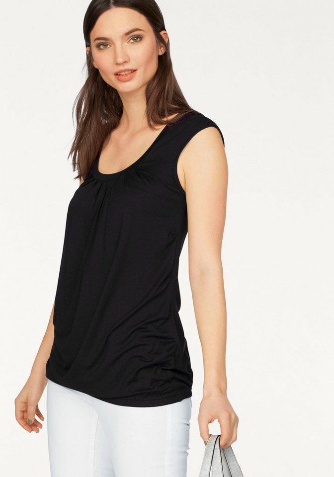 Laura Scott Rundhalsshirt mit elastischem Bund in schwarz
