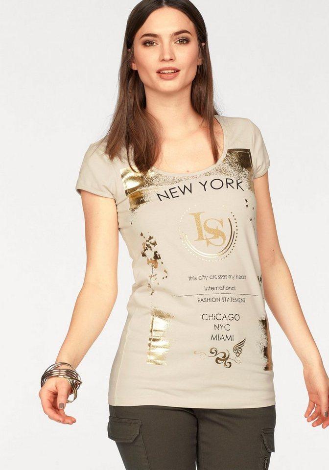 laura scott t shirt mit glanzprint online kaufen otto. Black Bedroom Furniture Sets. Home Design Ideas