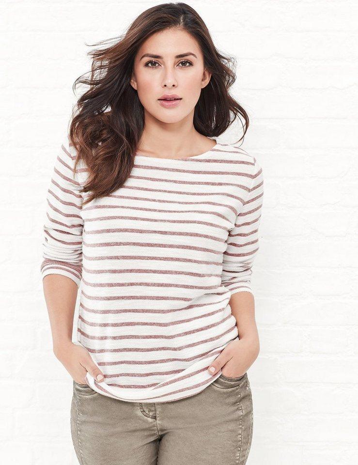 Samoon T-Shirt Langarm Rundhals »Ringel-Sweatshirt« in Ivory Ringel