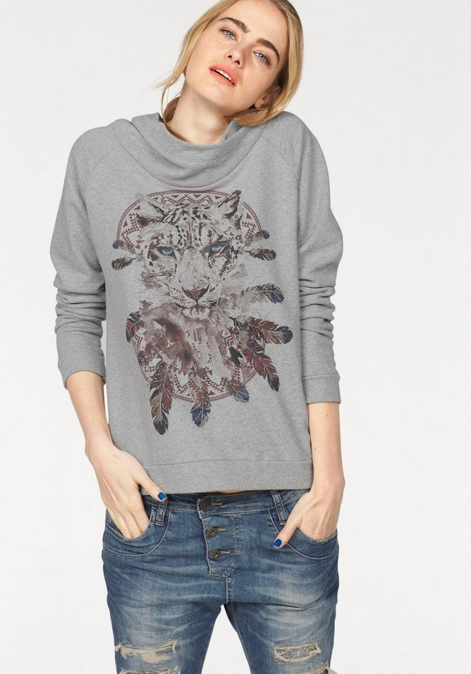 Please Jeans Sweater mit Frontprint in grau-meliert