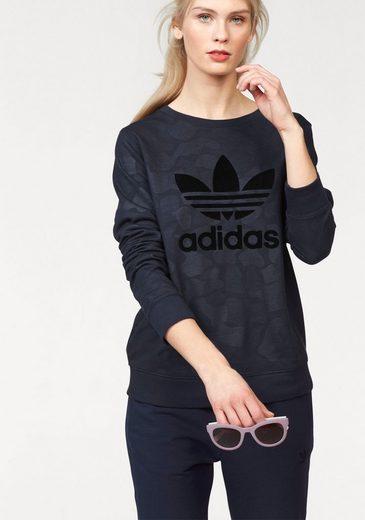 adidas Originals Sweatshirt TREFOIL CREW SWEATER, Mit Flock-Logodruck