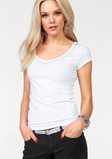 Melrose V-Shirt, mit Glitzersteinen
