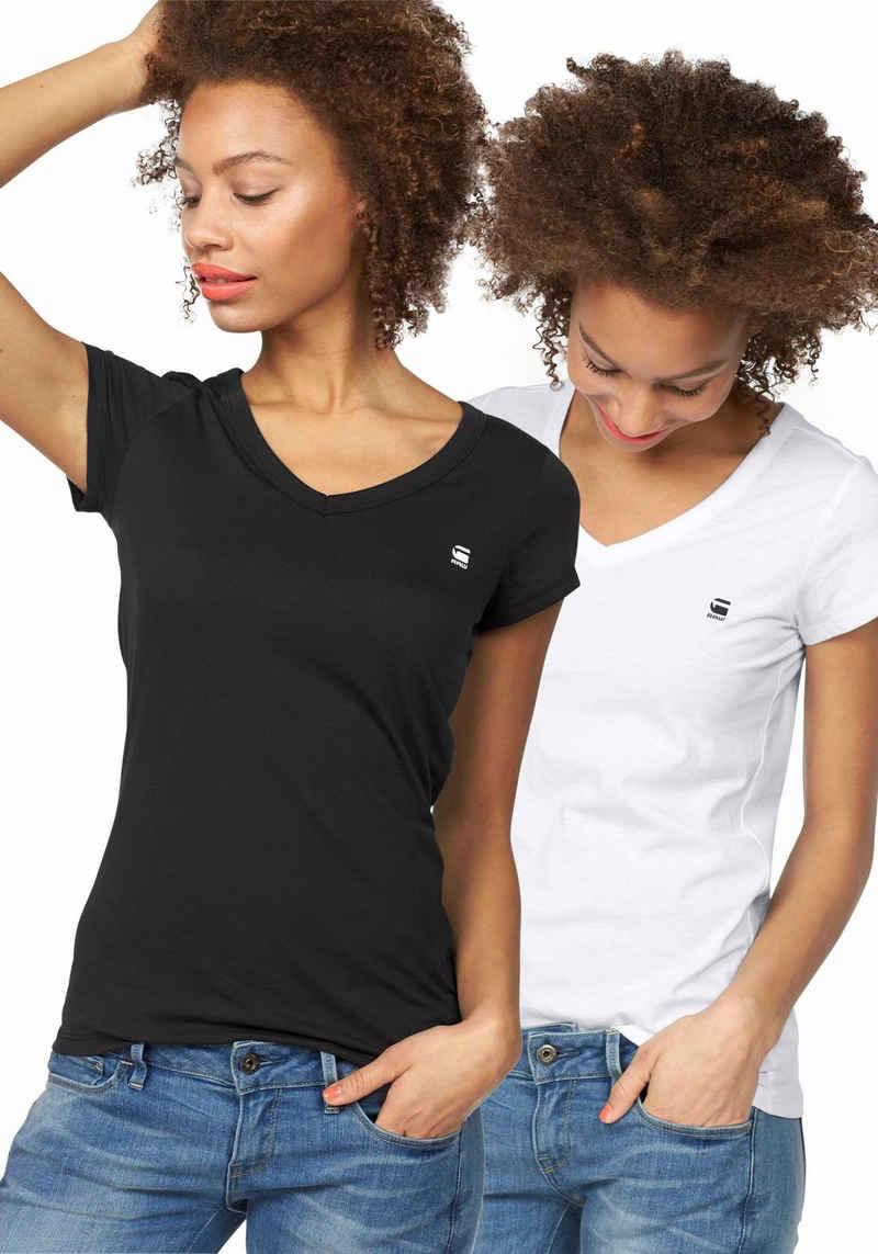 G-Star RAW V-Shirt »Logo V-neck« (Packung, 2er-Pack)