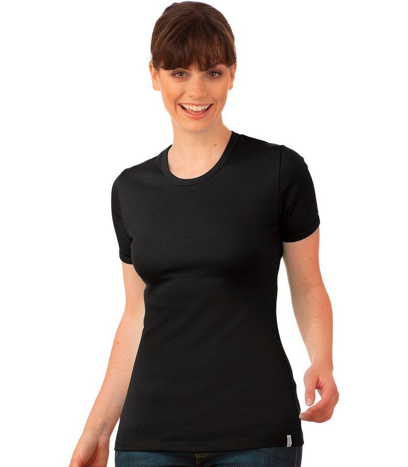 TRIGEMA T-Shirt Baumwolle/Elastan in schwarz