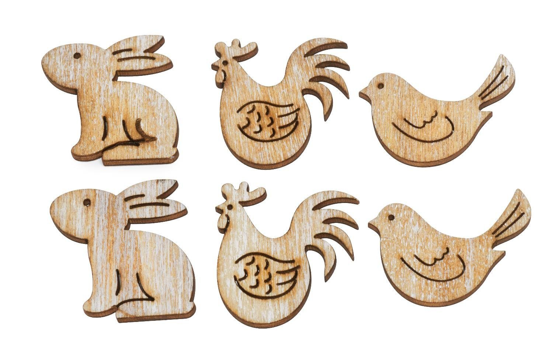 "VBS Holz-Streudeko ""Natural Easter"" 6 Stück"
