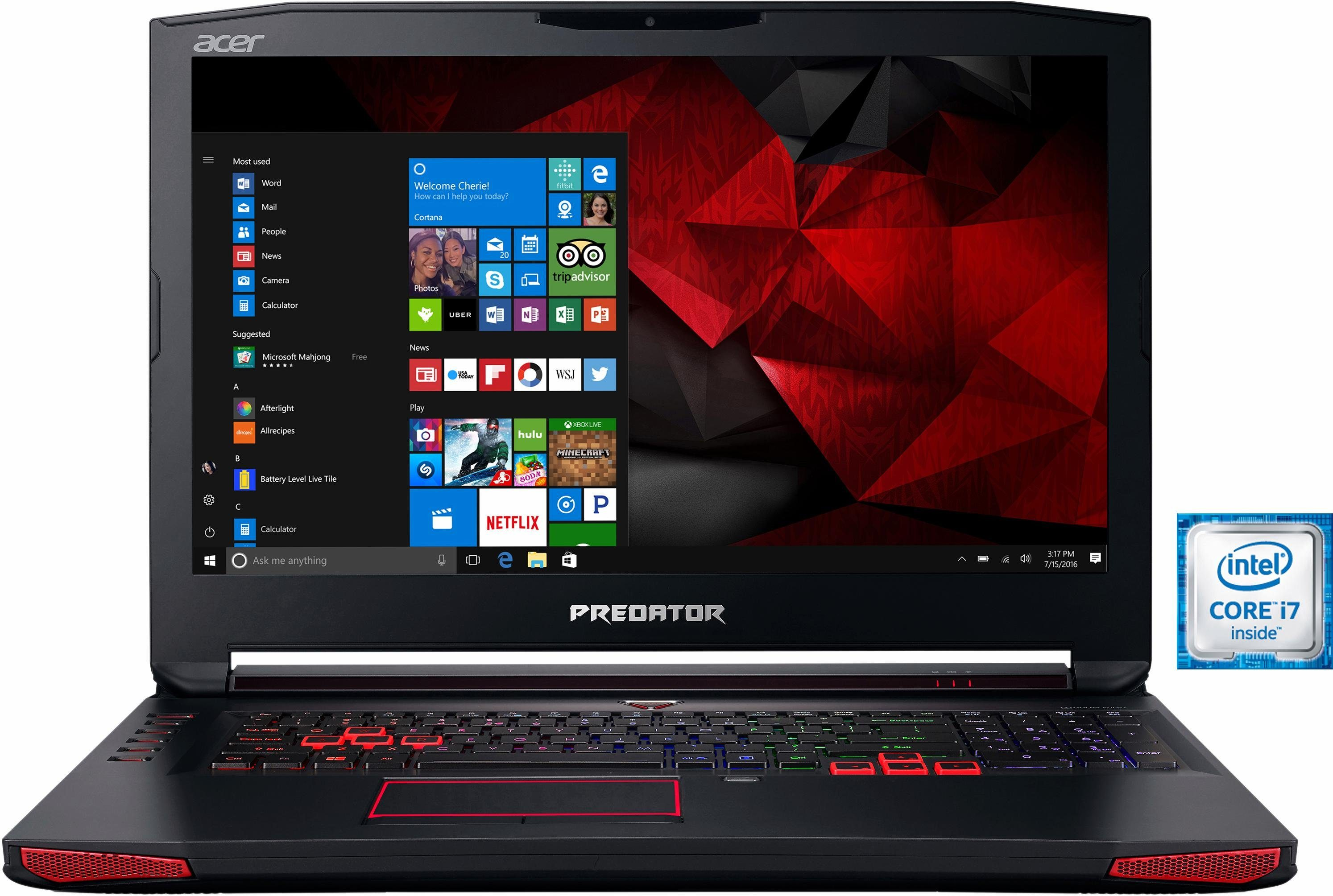 Acer Predator G9-793-718K Notebook, Intel® Core™ i7, 43,9 cm (17,3 Zoll), 1256 GB Speicher
