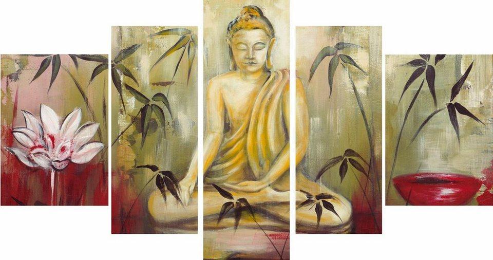 Leinwandbild, Home affaire, »Meditation II«, 5 tlg. in Grün