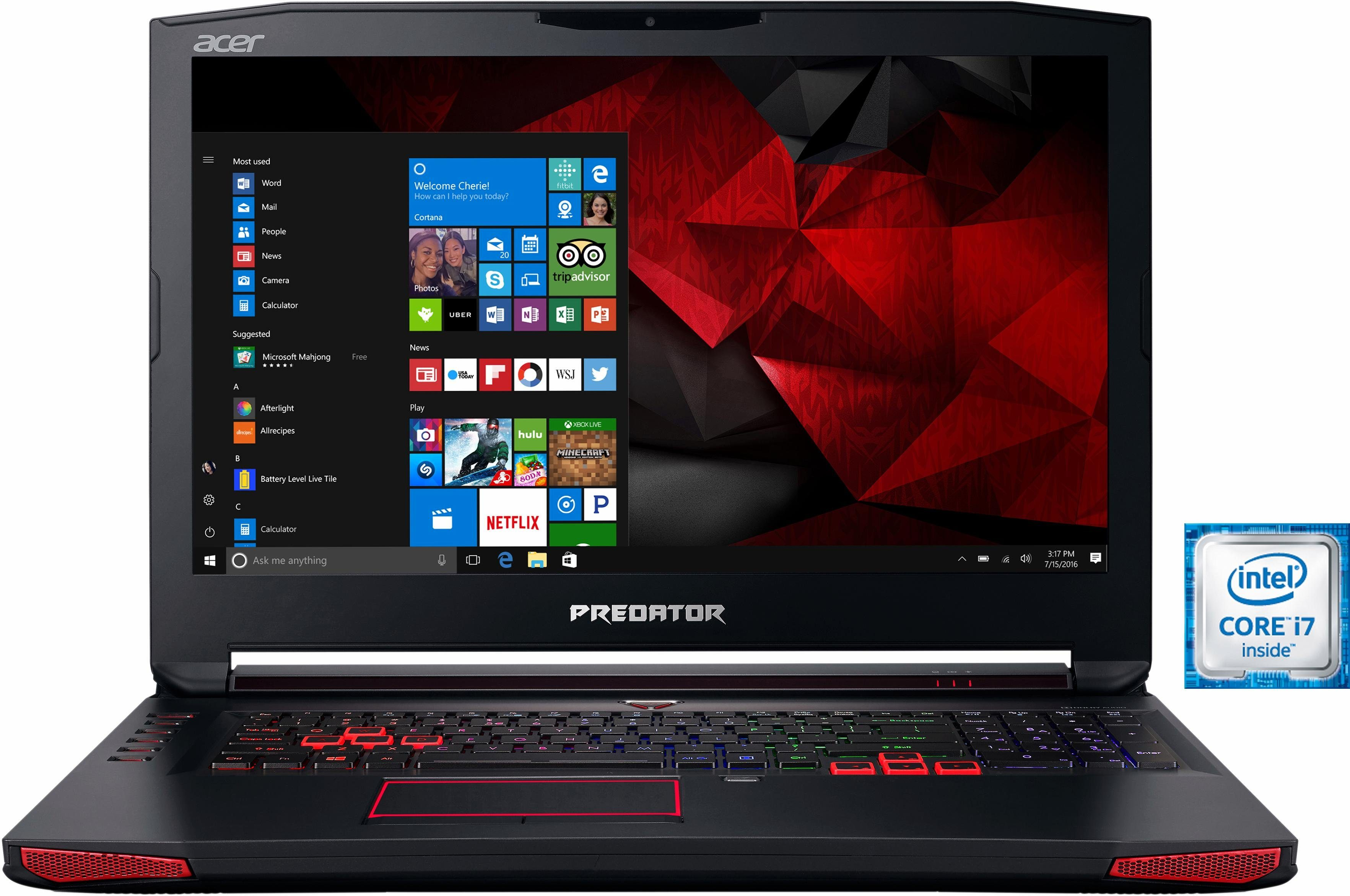 Acer Predator G9-793-77B6 Notebook, Intel® Core™ i7, 43,9 cm (17,3 Zoll), 1256 GB Speicher