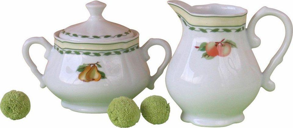 Porzellanserie, CreaTable, »Alba Obst« in Weiß, mit farbigem Früchte-Dekor