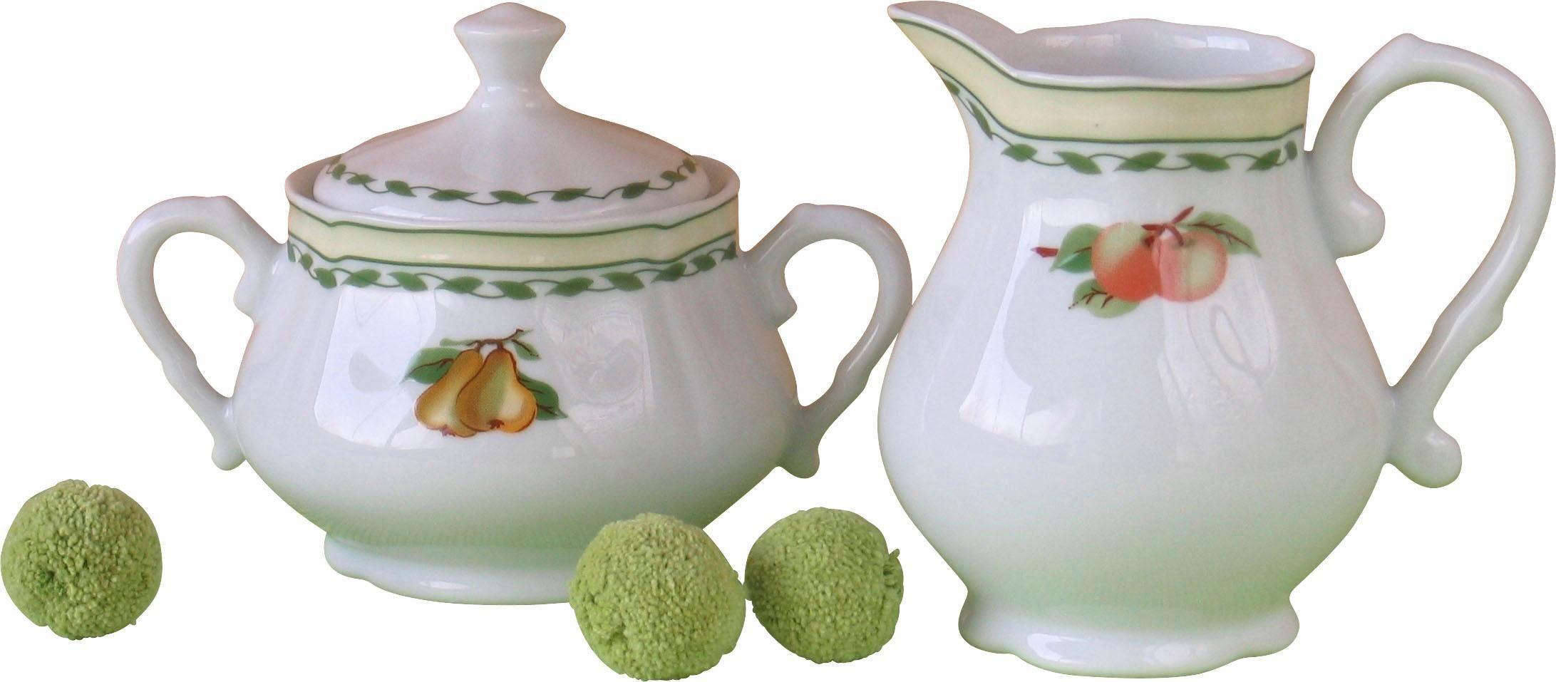 CreaTable Milch-/Zucker-Set, Porzellan, »Alba Obst« (2-teilig)