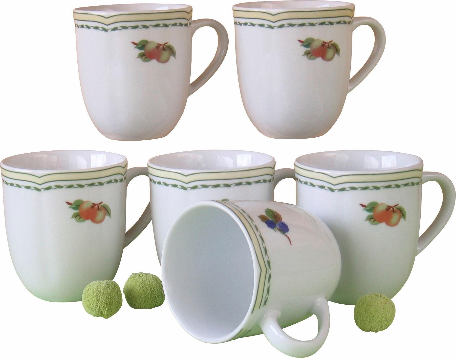 CreaTable Kaffeebecher, Porzellan, »Alba Obst« (6 Stück)