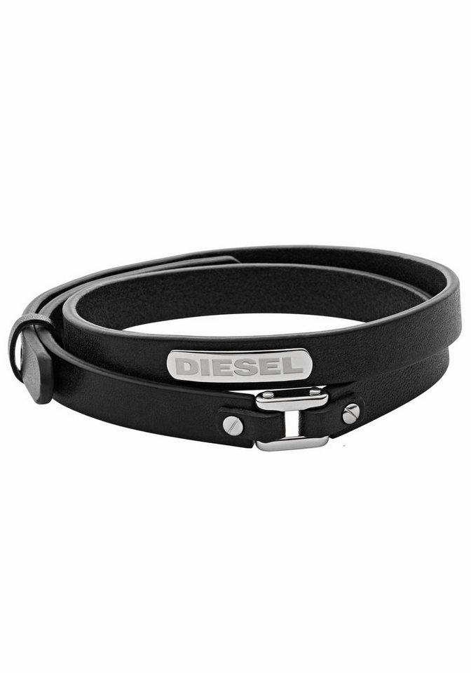 Diesel Wickelarmband »STACKED, DX0971040« | Schmuck > Armbänder > Wickelarmbänder | Schwarz | Leder | Diesel