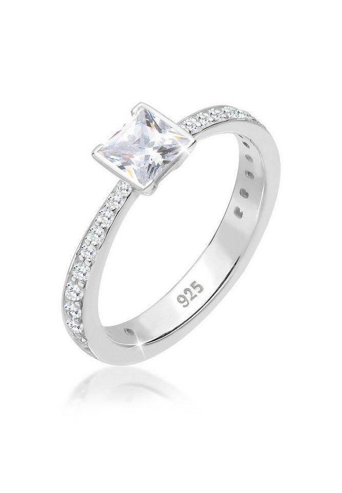 Elli Ring »Verlobungsring Solitär Zirkonia 925 Silber« in Weiß