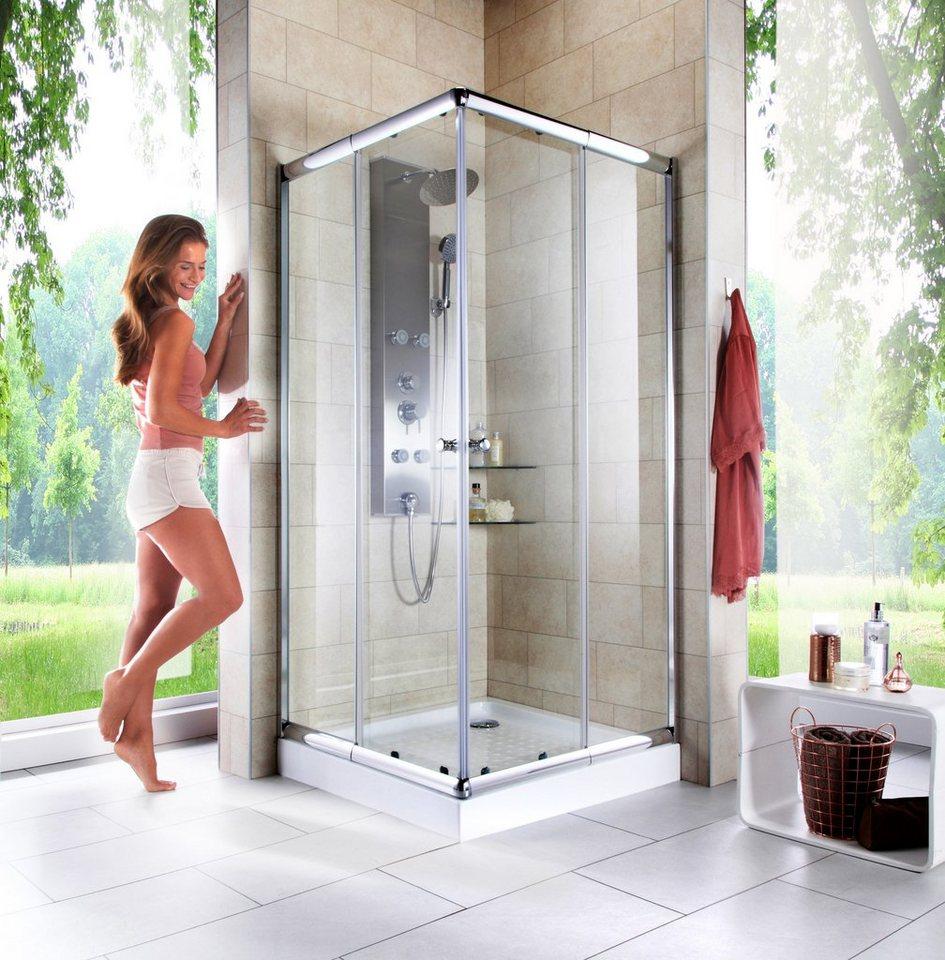 eckeinstieg eckdusche trento variabel verstellbar 80 90 cm duschkabine chrom online kaufen. Black Bedroom Furniture Sets. Home Design Ideas