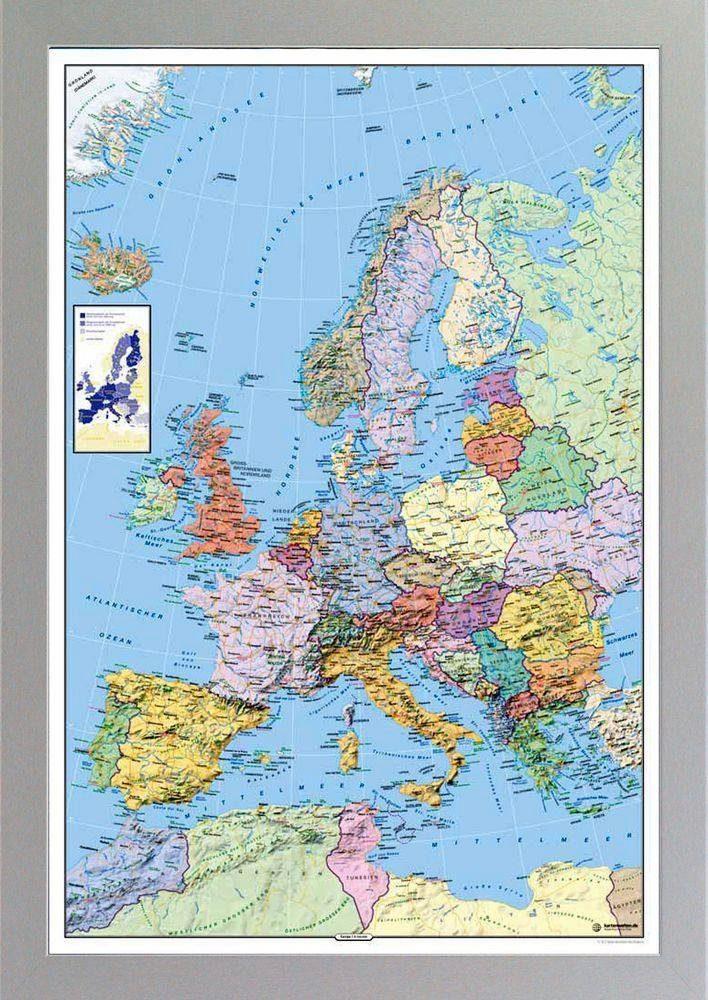 Premium Picture XXL Blockrahmen »Europakarte«, 73/103 cm