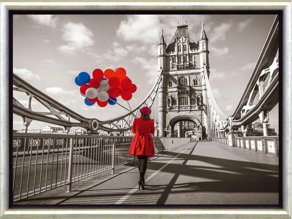 Premium Picture Schattenfugenbild »London/Lady in red on Bridge«, 46/36 cm