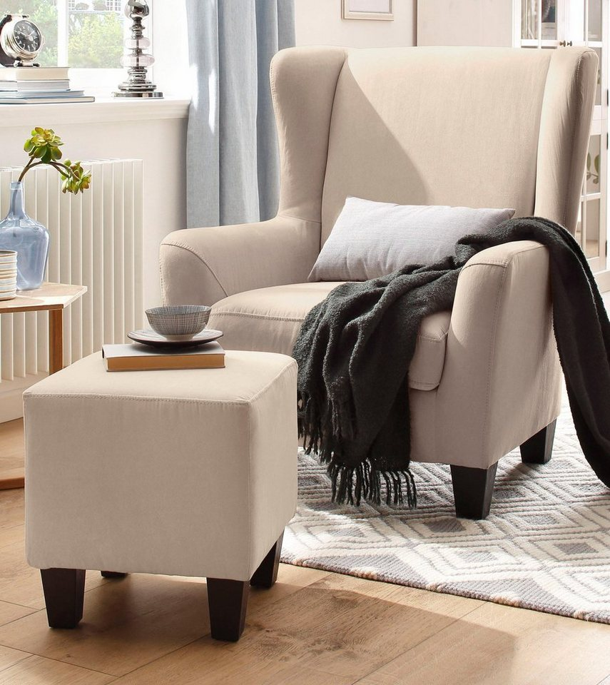 home affaire sessel mit hocker im set chilly mit federkern polsterung in karo unifarben. Black Bedroom Furniture Sets. Home Design Ideas